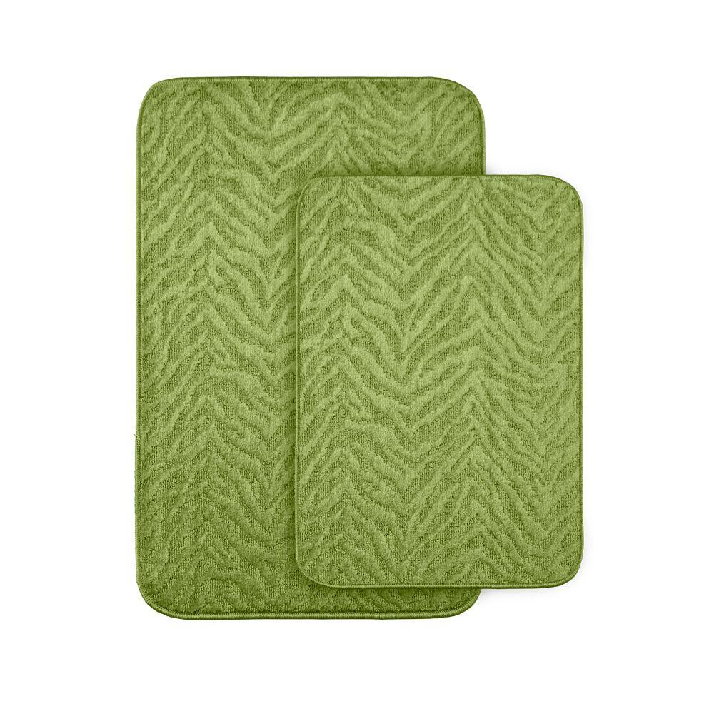 Garland Rug Zebra Lime Green 20 In X 30 Washable Bathroom 2 Piece