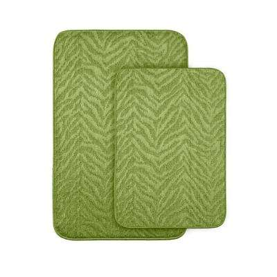 Zebra Lime Green 20 in x 30 in. Washable Bathroom 2 -Piece Rug Set