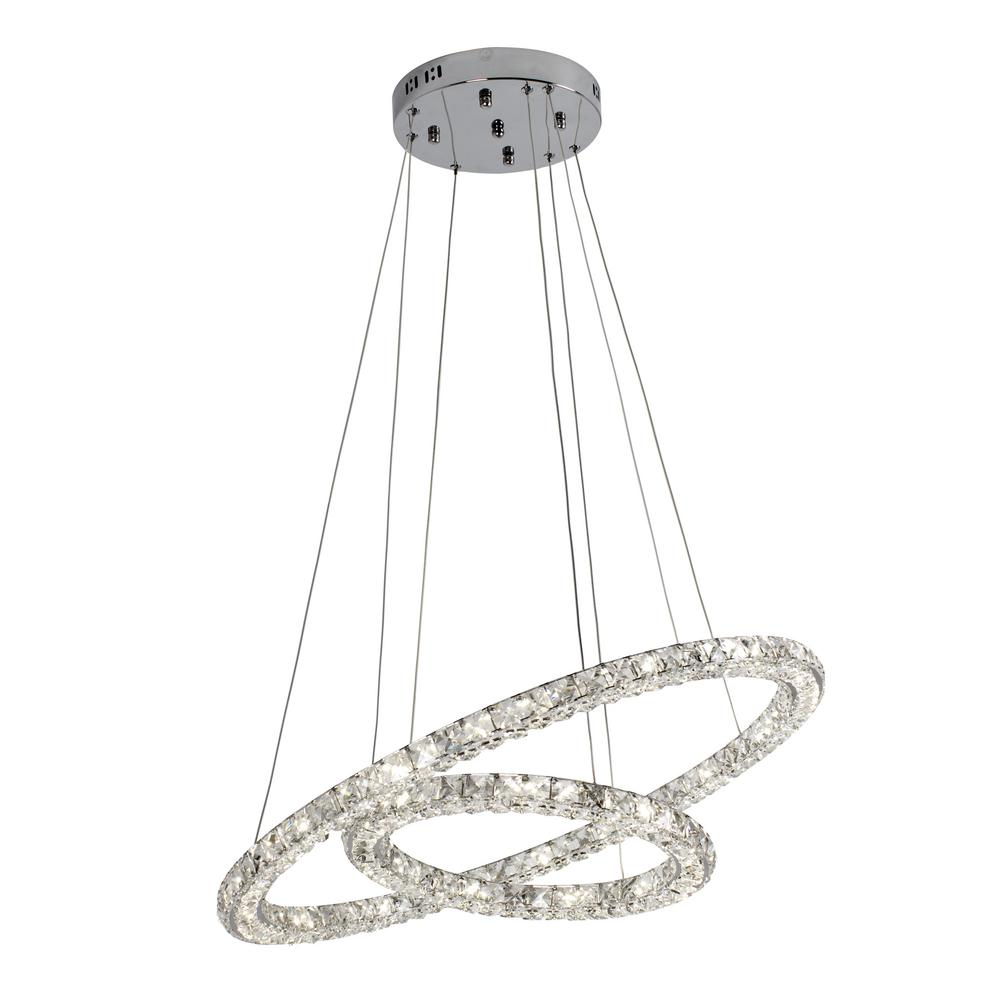 BAZZ 1-Light Chrome LED Ring Pendant with K9 Double Crystal  sc 1 st  Home Depot : led crystal pendant light - azcodes.com