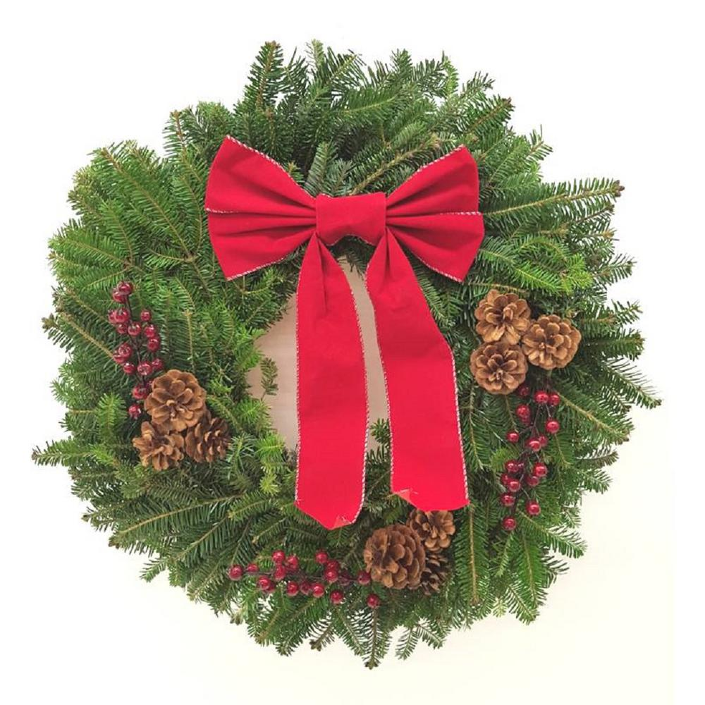 22 in. Fraser Fir Christmas Wreath with Red Bow