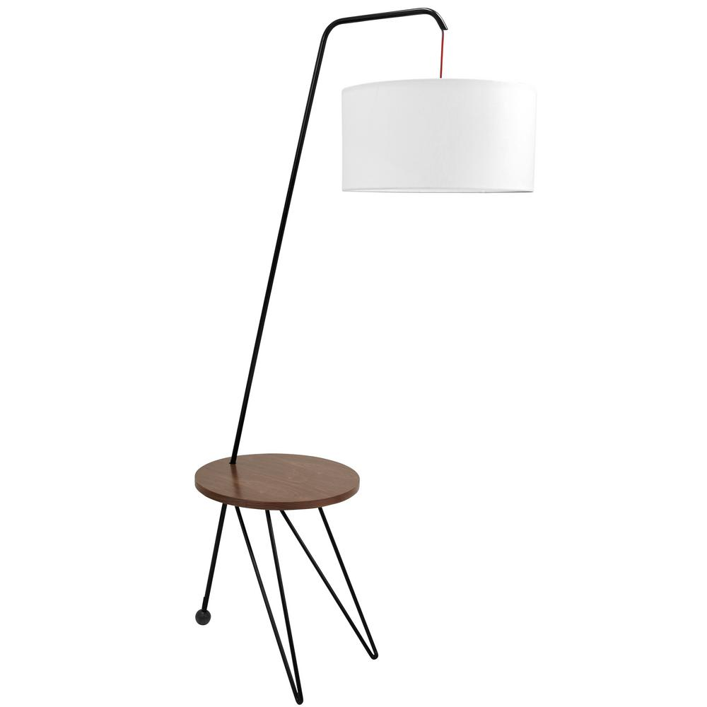 Lumisource Stork 69.25 in. Walnut and White Floor Lamp with Round Wood Table
