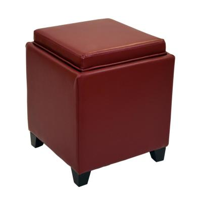 Rainbow in Red Bonded Leather Contemporary Storage Ottoman With Tray