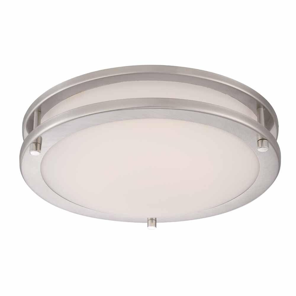 Hampton Bay Ceiling Light Fixtures: Hampton Bay 12 In. LED Brushed Nickel Low-Profile Ceiling