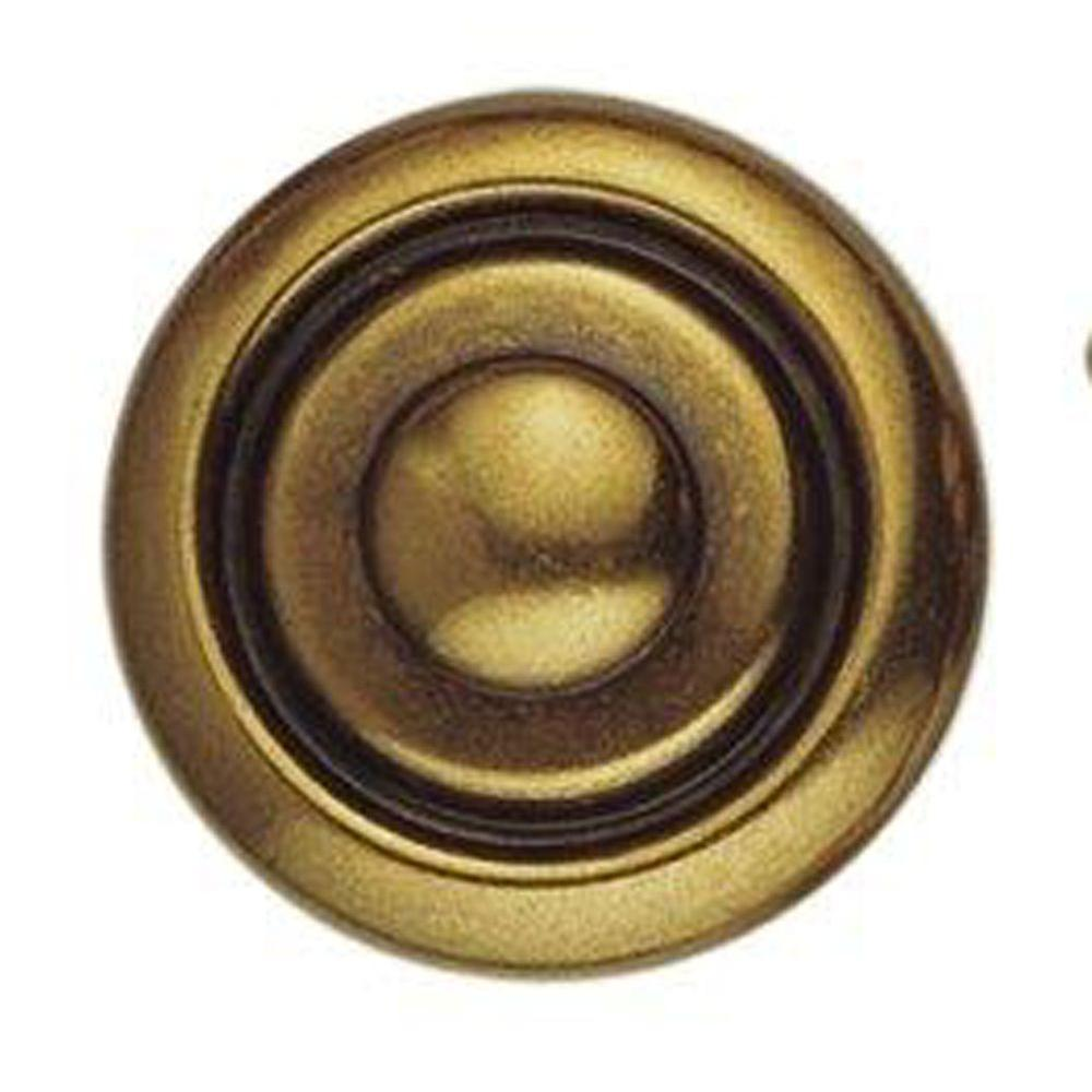 1800 Circa 1.18 in. Antique Brass Dark Knob