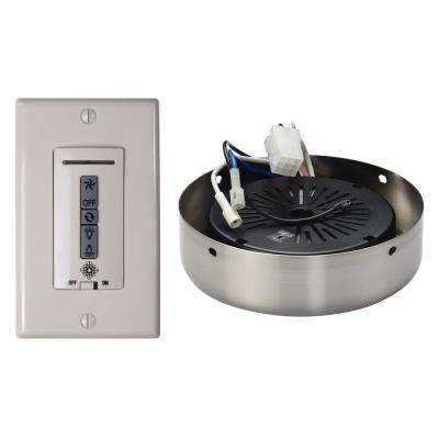 White and Almond Hardwired Ceiling Fan Wall Remote Control and Receiver with Brushed Steel Receiver Hub