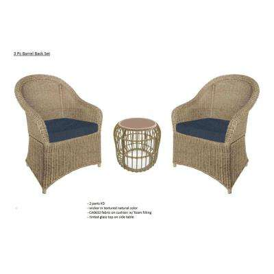 Florence 3-Piece Wicker Outdoor Bistro Set with Blue Cushions