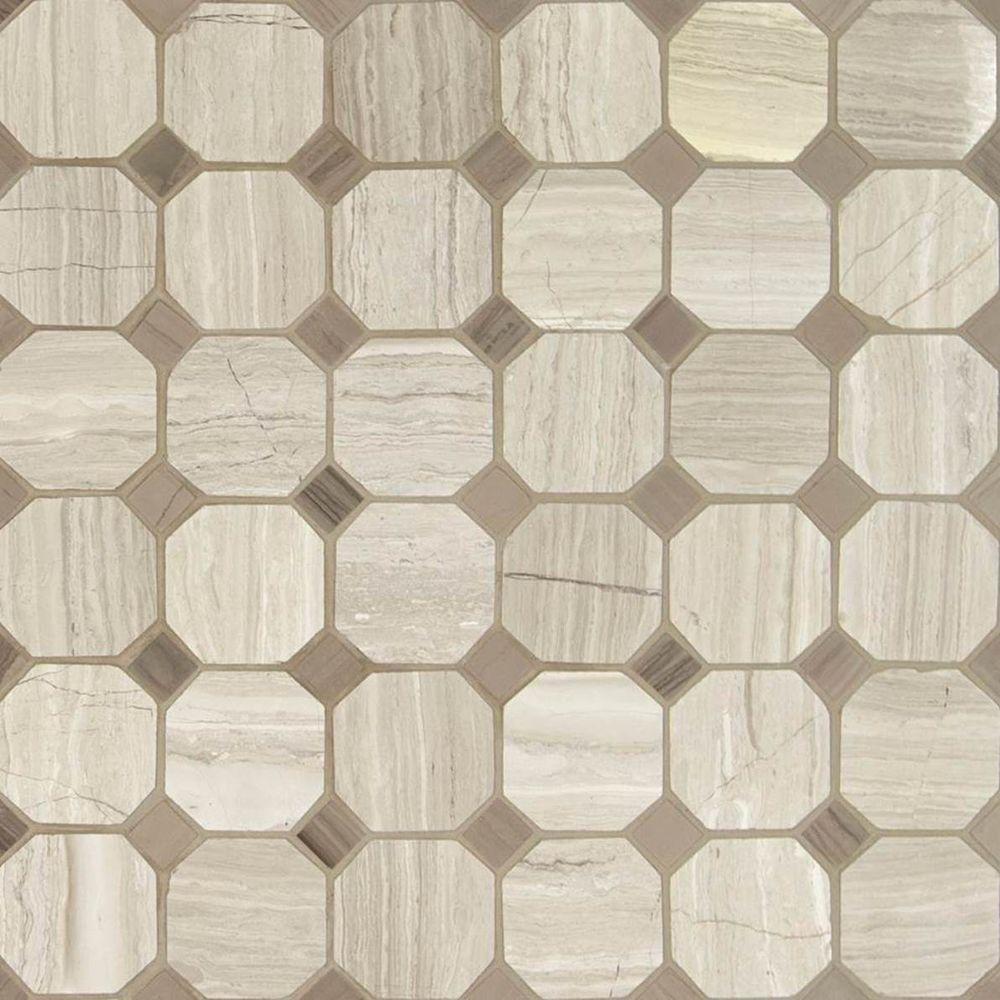 MSI White Oak Octagon 12 in. x 12 in. x 10mm Honed Marble Mesh ...