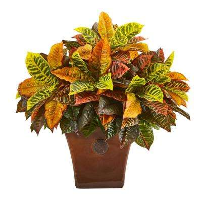 25 in. Garden Croton Artificial Plant in Brown Planter (Real Touch)