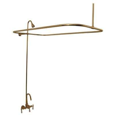 3-Handle Claw Foot Tub Faucet without Hand Shower in Polished Brass