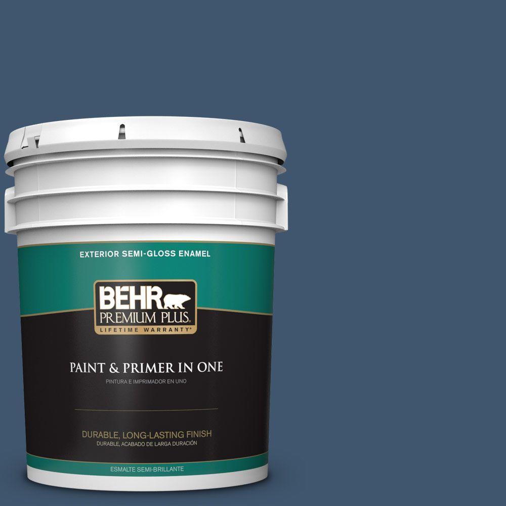 5-gal. #BXC-24 Atlantic Tide Semi-Gloss Enamel Exterior Paint