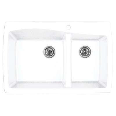 Drop-In Quartz Composite 34 in. 1-Hole 60/40 Double Bowl Kitchen Sink in White