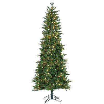 7.5 ft. Pre-Lit Natural Cut Salem Spruce Artificial Christmas Tree with Power Pole and Clear Lights