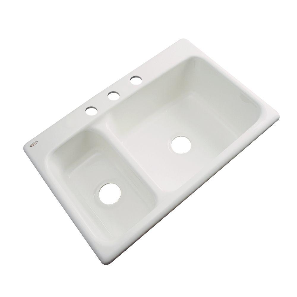 Thermocast Wyndham Drop-In Acrylic 33 in. 3-Hole Double Bowl Kitchen Sink in Biscuit