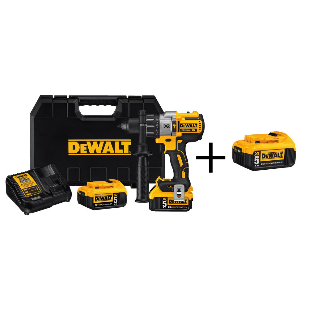 DEWALT 20-Volt MAX XR Lithium-Ion Cordless Premium Brushless Hammer Drill with (2) Batteries 5Ah, Charger and Free Battery 5Ah