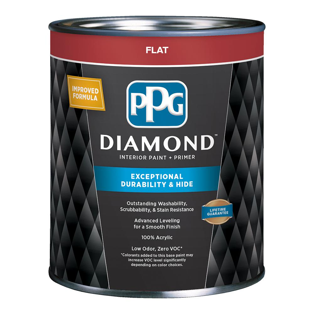 PPG Diamond 1 qt  Pure White Flat Enamel Interior Paint and Primer