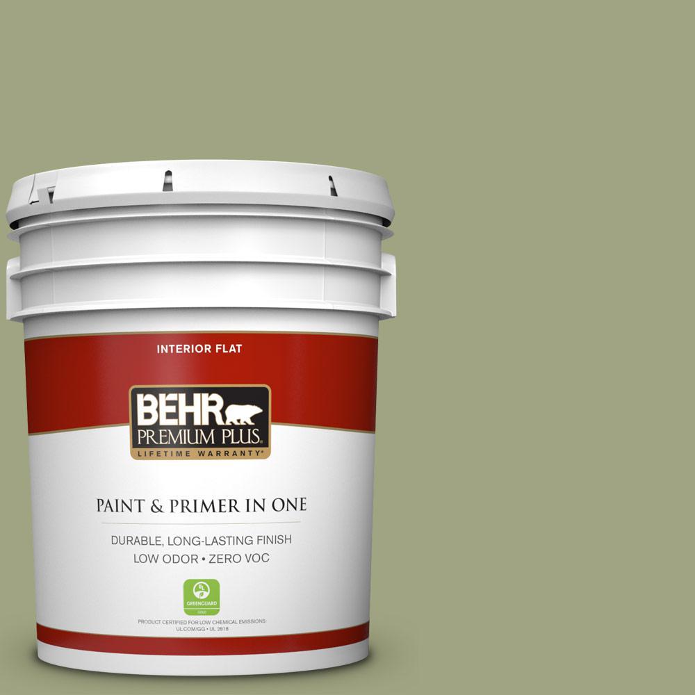 BEHR Premium Plus 5-gal. #410F-4 Mother Nature Zero VOC Flat Interior Paint