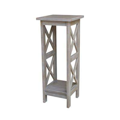 Weathered 30 in. H Gray X-sided Plant Stand