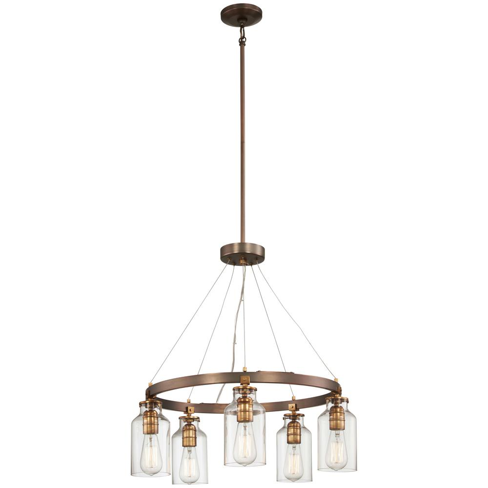 Minka Lavery Morrow 5-Light Harvard Court Bronze with Gold Highlights Chandelier