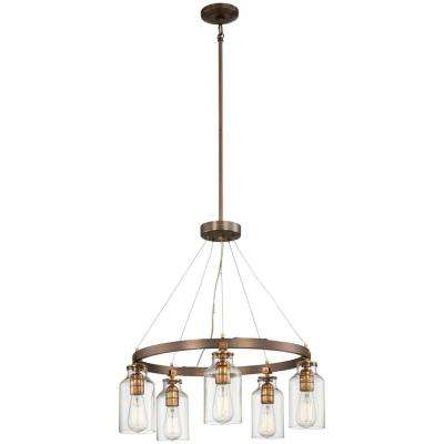 Morrow 5-Light Harvard Court Bronze with Gold Highlights Chandelier