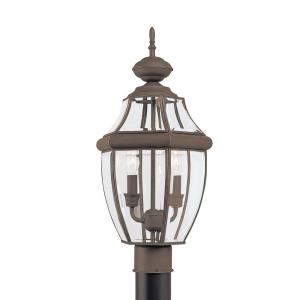 Lancaster 2-Light Outdoor Antique Bronze Post Light with Dimmable Candelabra LED Bulb
