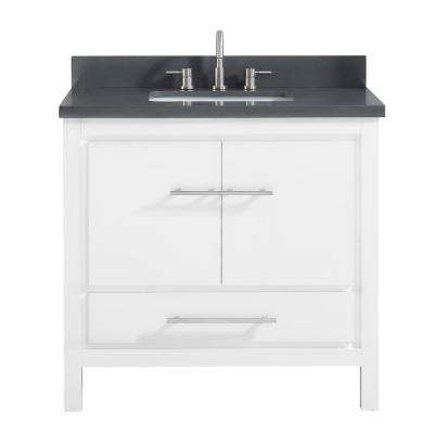 Riley 37 in. W x 22 in. D x 34.8 in. H Bath Vanity in White with Quartz Vanity Top in Gray with Basin