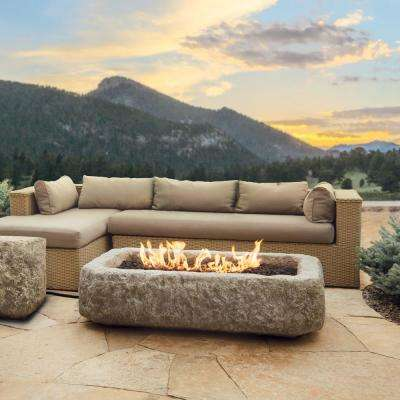 Antique Stone 59 in. x 14.5 in. Rectangle Fiber Concrete Propane Fire Pit Table in Antique Stone with NG Conversion Kit