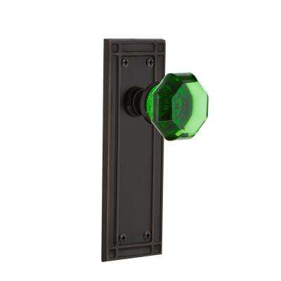 Mission Plate 2-3/8 in. Backset Timeless Bronze Privacy Waldorf Emerald Door Knob