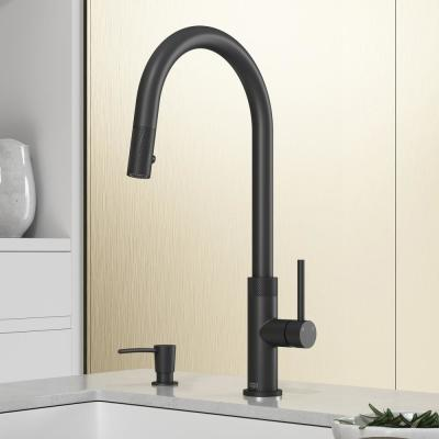 Bristol Single-Handle Pull-Down Sprayer Kitchen Faucet with Soap Dispenser in Matte Black