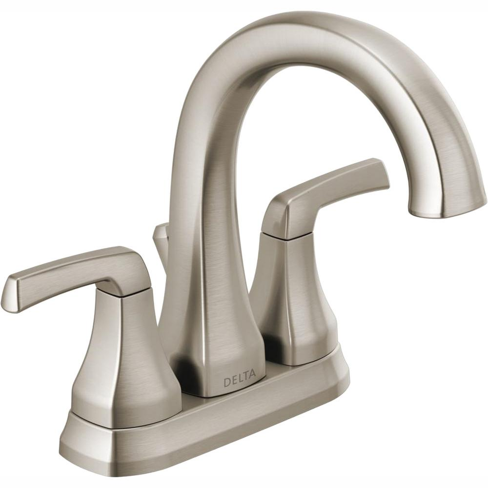Delta Bathroom Faucets.Delta Portwood 4 In Centerset 2 Handle Bathroom Faucet In Spotshield Brushed Nickel