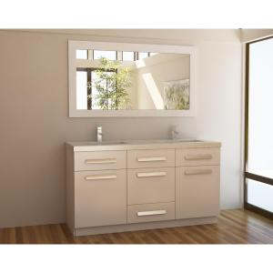 Click here to buy Design Element Moscony 60 inch W x 22 inch D Double Vanity in White with Composite Stone Vanity Top in Quartz and Mirror by Design Element.