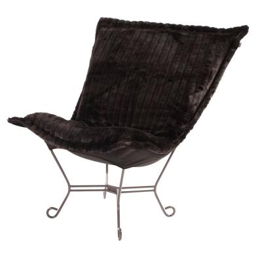 Scroll Puff Chair with Cover, Titanium Frame, Mink Black