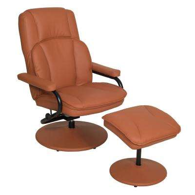 Impresa Toffee Swivel Recliner with Ottoman