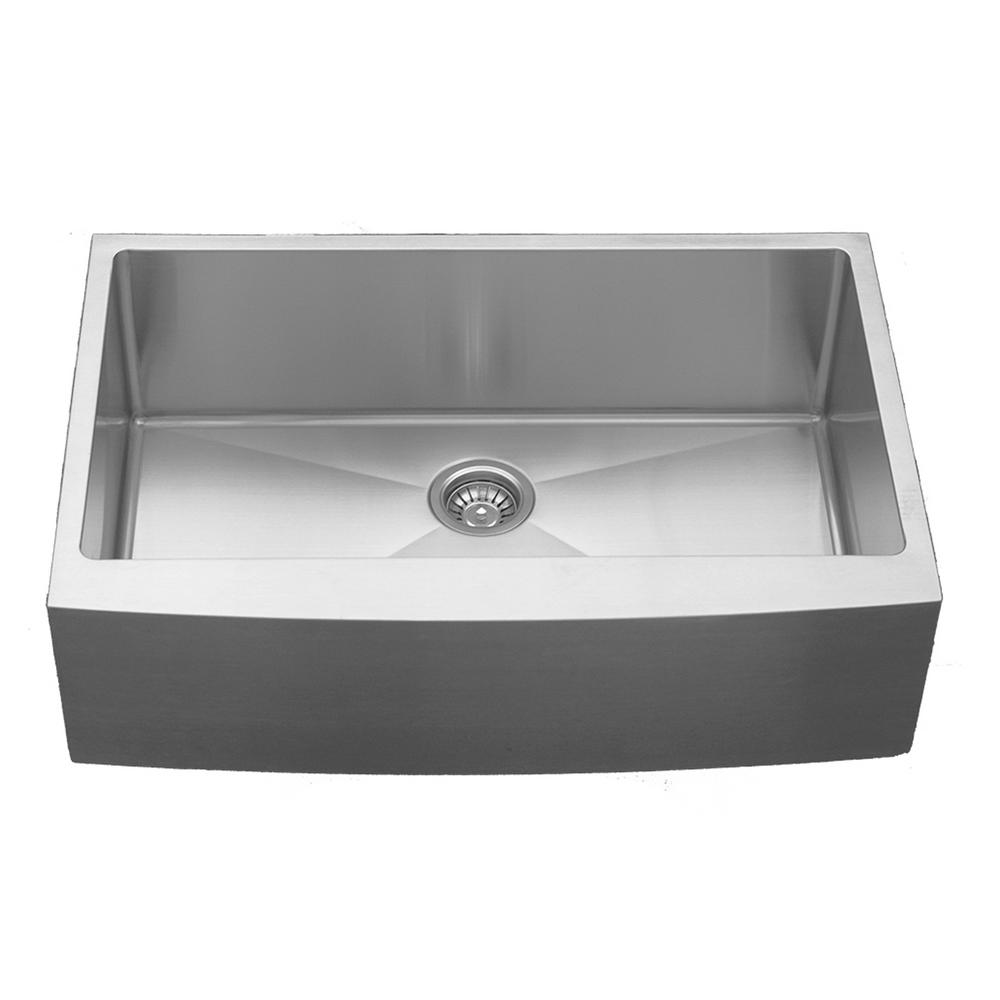 Karran Farmhouse Apron Front Stainless Steel 33 In Single Bowl Kitchen Sink El 84 The Home Depot