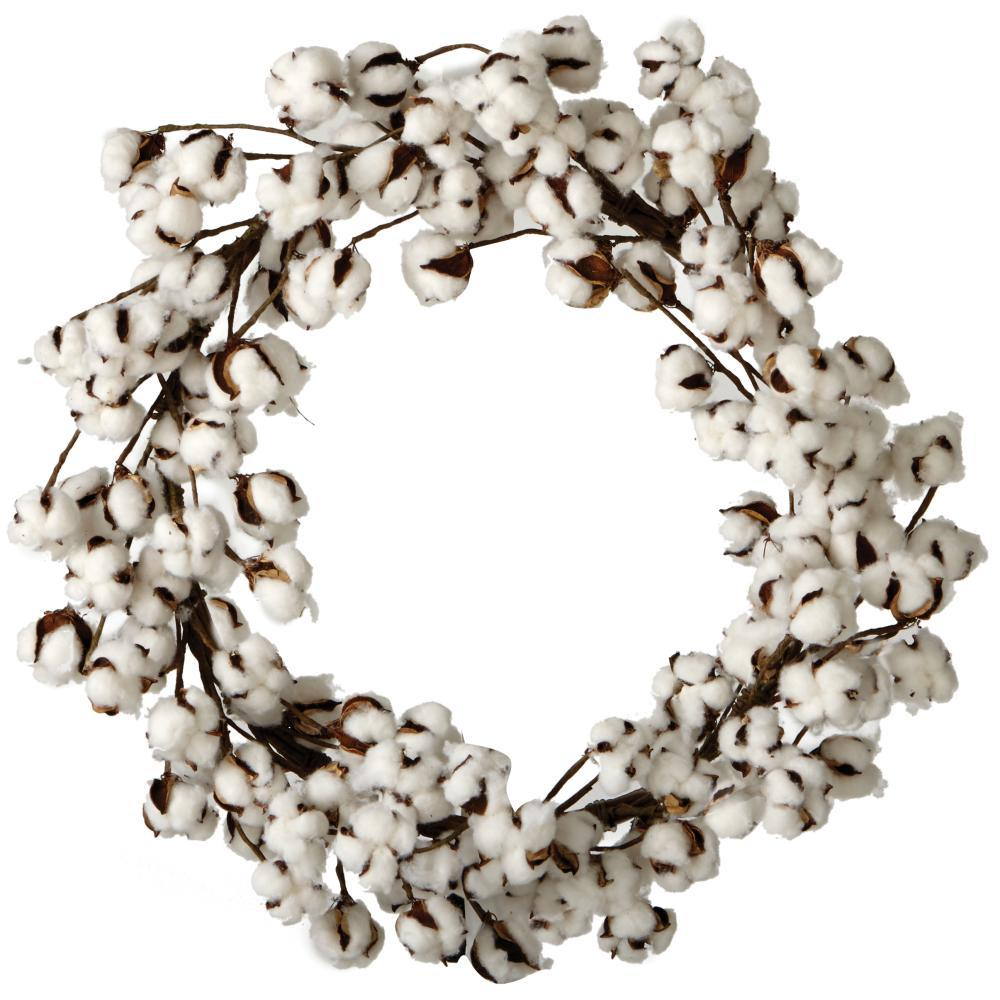 Home Decorators Collection 26 in. Artificial Cotton Wreath