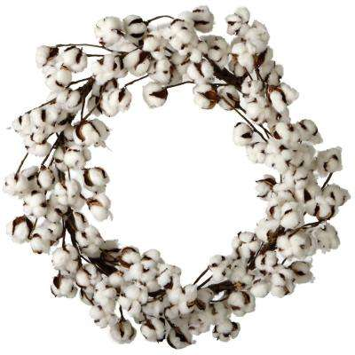26 in. Artificial Cotton Wreath