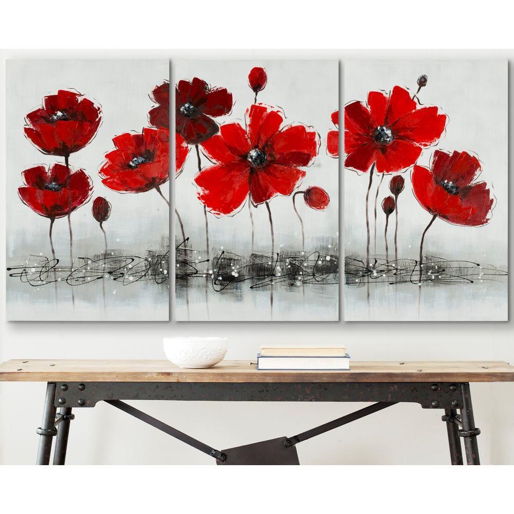 """20 in. x 31 in. """"Red Flower"""" Wall Art"""