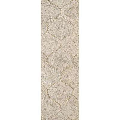 """London Collection Brown 100% Wool 2'6"""" x 8' Hand-Tufted Trellis Area Rug"""