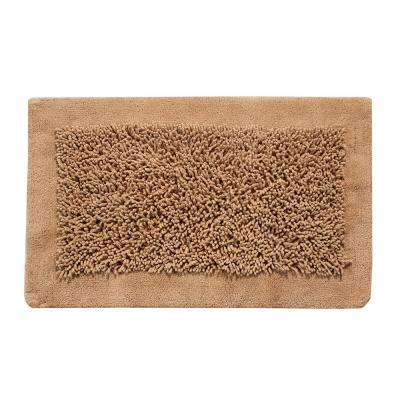 2-Piece Bath Rug Set Cotton and Chenille 24 in. x 17 in. and 34 in. x 21 in. Nonskid Backing Beige Long Noodle Pattern