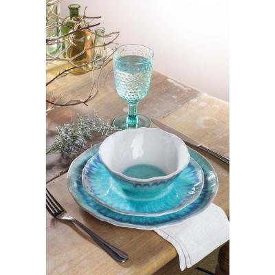 Sea Splash 12-Piece Casual Turquoise Melamine Outdoor Dinnerware Set (Service for 4)
