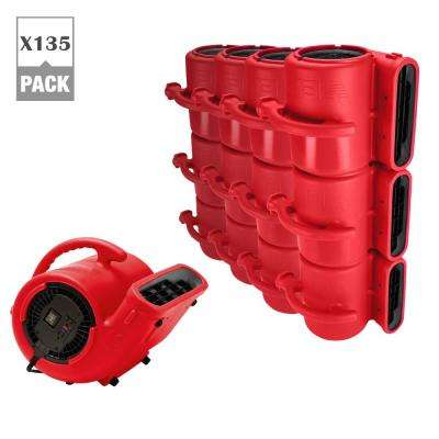1/3 HP Air Mover for Water Damage Restoration Carpet Dryer Janitorial Floor Blower Fan, Red (135-Pack)