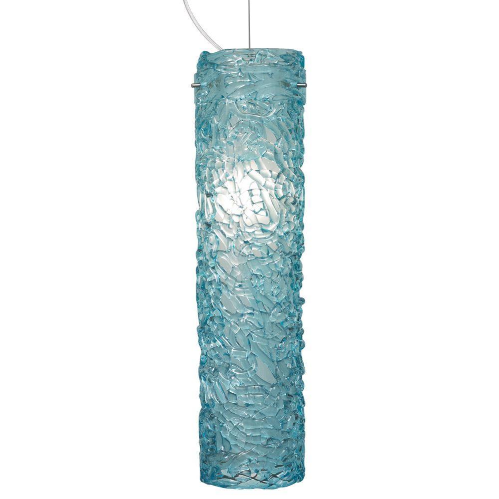 LBL Lighting Isis 1-Light Bronze Fluorescent Pendant with Aqua Shade