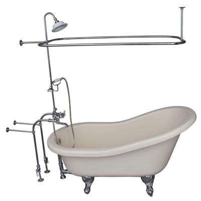 5 ft. Acrylic Ball and Claw Feet Slipper Tub in Bisque with Polished Chrome Accessories