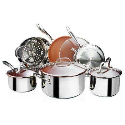 Stainless Steel 10-Piece Non-Stick Ti-Cerama Cookware Set with Lids
