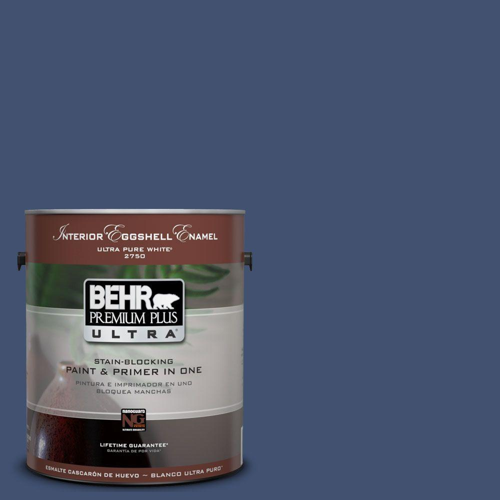 BEHR Premium Plus Ultra 1-Gal. #UL240-22 Signature Blue Interior Eggshell Enamel Paint