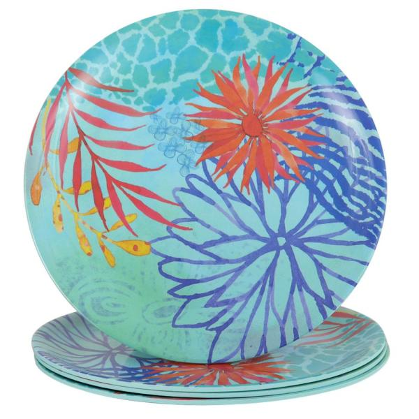 Gibson Home Psycho-Tropical 10.5 in. Melamine Dinner Plate (Set of 4)