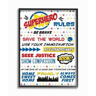 "16 in. x 20 in. ""Comic Book Dots Super Hero Rules Typography"" by Anna Quach Printed Framed Wall Art"