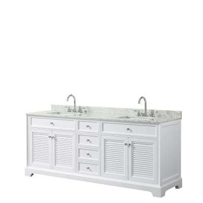 Tamara 80.5 in. Double Bathroom Vanity in White with Marble Vanity Top in White Carrara with White Basins