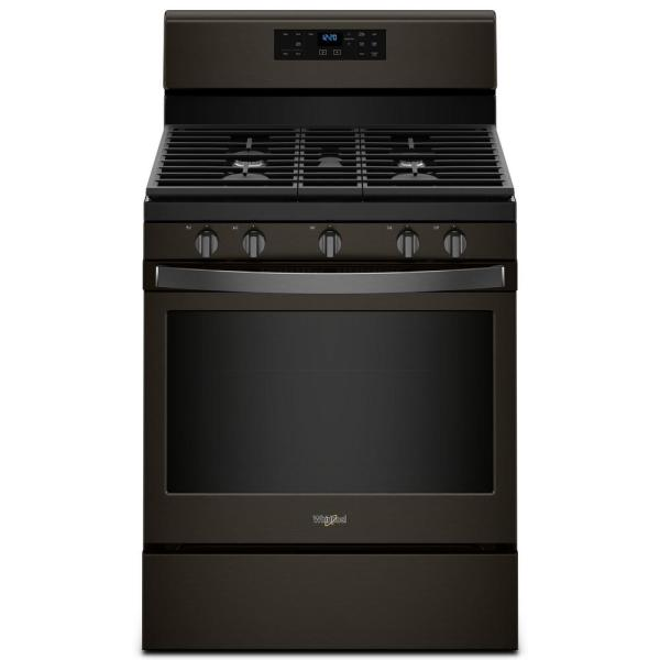 5.0 cu. ft. Gas Range with Self-Cleaning Oven and Center Oval Burner in Fingerprint Resistant Black Stainless