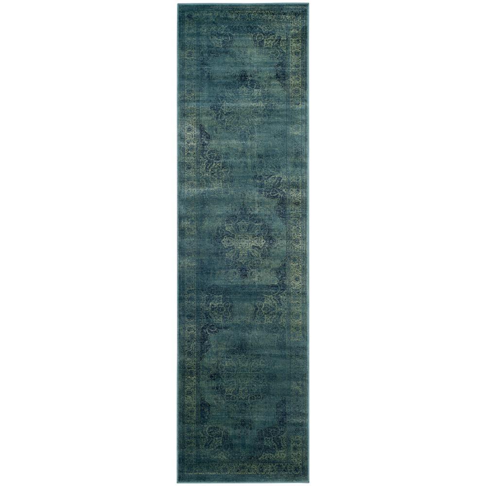 Vintage Blue/Multi 2 ft. x 8 ft. Runner Rug