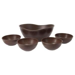 EVO Sustainable Goods Dark Brown Eco-Friendly Wood-Plastic Composite Serving Bowl Set (Set of 5)